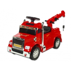 Elektrické auto náklaďáček s funkčním jeřábem, červený