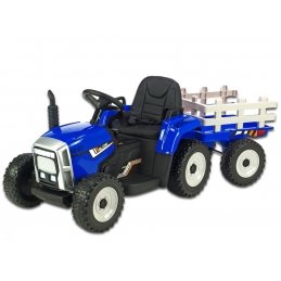 Elektrický traktor s vlekem, modrý
