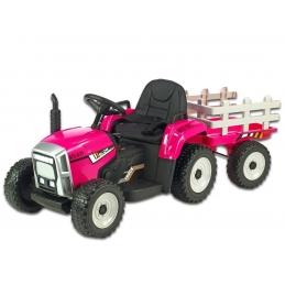 Elektrický traktor s vlekem, růžový