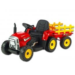 Elektrický traktor s vlekem, červený