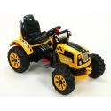 Dětský elektrický  traktor Kingdom s mohutnými koly a konstrukcí, 2x motor 12V, 2x náhon, žlutý