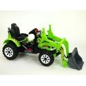 Dětský elektrický traktor Kingdom s ovladatelnou nakládací lžící, 2x motor 12V, 2x náhon, zelený