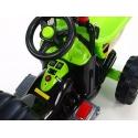 Dětský elektrický traktor Kingdom s výklopnou korbou, mohutnými koly a konstrukcí, 2x motor 12V, 2x náhon, zelený