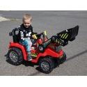 Dětský elektrický traktor s ovladatelnou nakládací lžící, 2x motor 12V, 2x náhon, červený