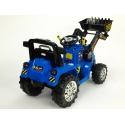 Dětský elektrický traktor s ovladatelnou nakládací lžící, 2x motor 12V, 2x náhon, modrý