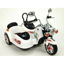Dětská elektrická motorka se sajdkárou bílá