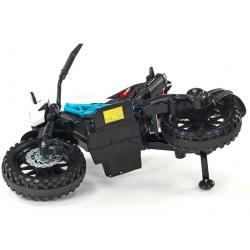 Elektrická motorka terénní Lion s plynovou rukojetí a nožní brzdou, bílomodrá