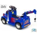 Elektrické auto náklaďáček s funkčním jeřábem, modrý