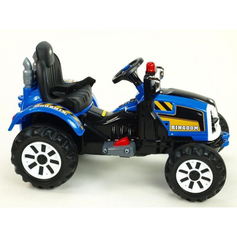 Dětský elektrický  traktor Kingdom s mohutnými koly a konstrukcí, 2x motor 12V, 2x náhon, modrý