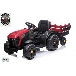 Elektrický traktor s vlekem a lopatou, červený
