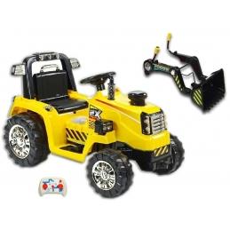 Elektrický traktor 12V se lžící + DO, žlutý