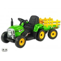 Elektrický traktor s vlekem, zelený