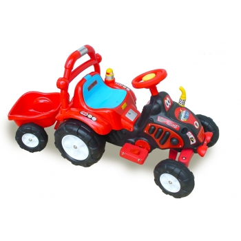 Elektrický traktor pro nejmenší, vlastní nálepky, červený