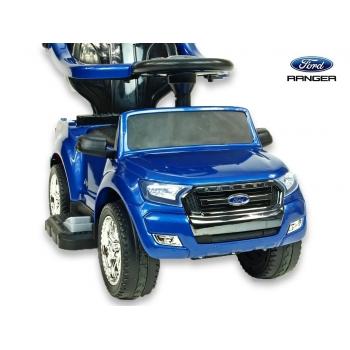 Dětské elektrické autíčko Ford Ranger pro nejmenší, 6V  s vodící tyčí a  stříškou, lakovaná modrá metalíza