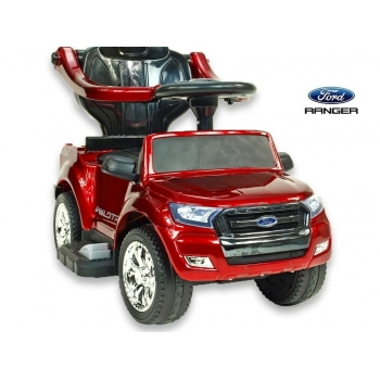Dětské elektrické autíčko Ford Ranger pro nejmenší, 6V  s vodící tyčí a  stříškou, lakovaná vínová metalíza